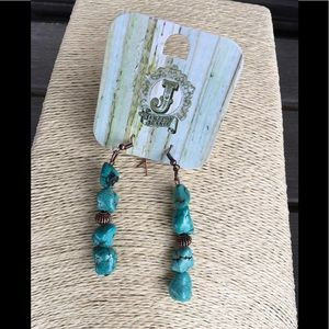 Jewelry - Jewelry Junkie Stacked Turquoise & Copper Earring